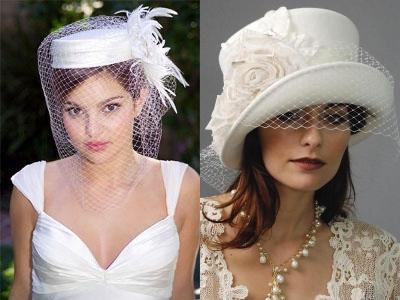 Свадебная прическа с шляпкой